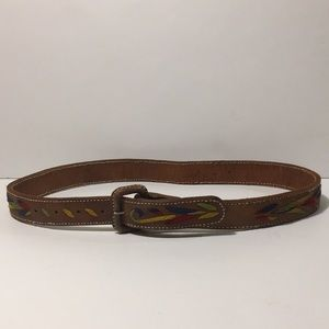 Vintage- Leather Belt with Colorful Embroidery